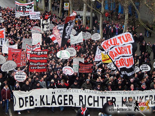 Protestaktion gegen Stadionverbote